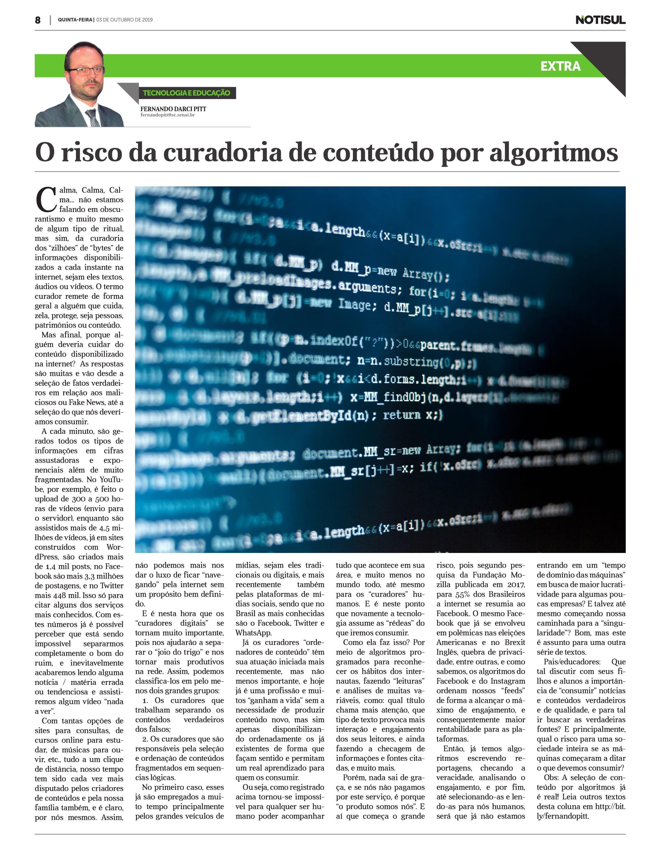 O risco da curadoria de conteúdo por algoritmos