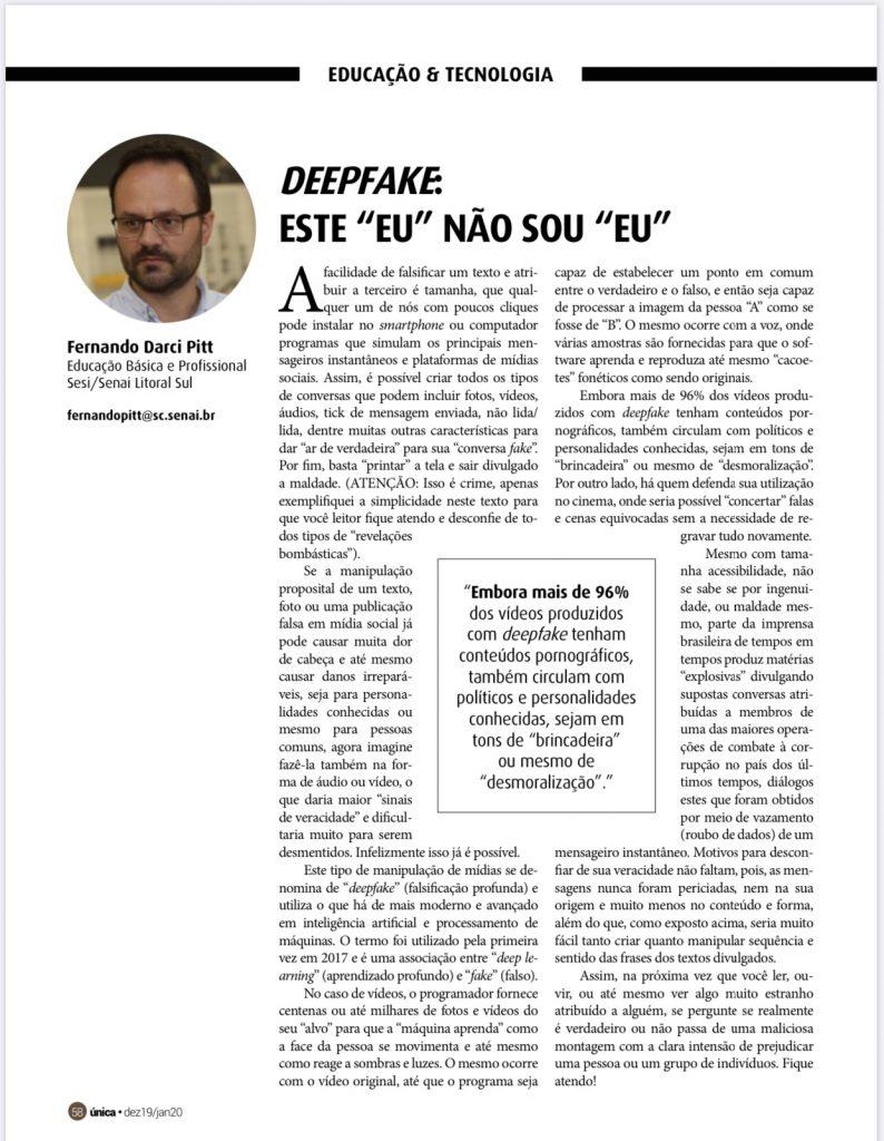 DeepFake, por Fernando Pitt na Revista Única.
