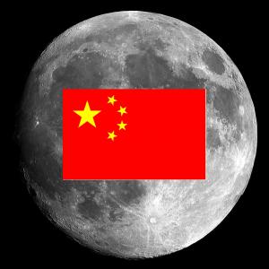 Bandeira da China fixada na Lua