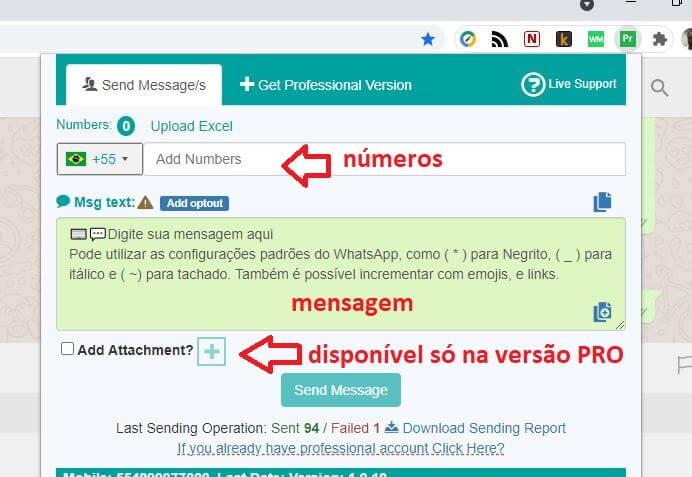 WhatsApp sender como usar
