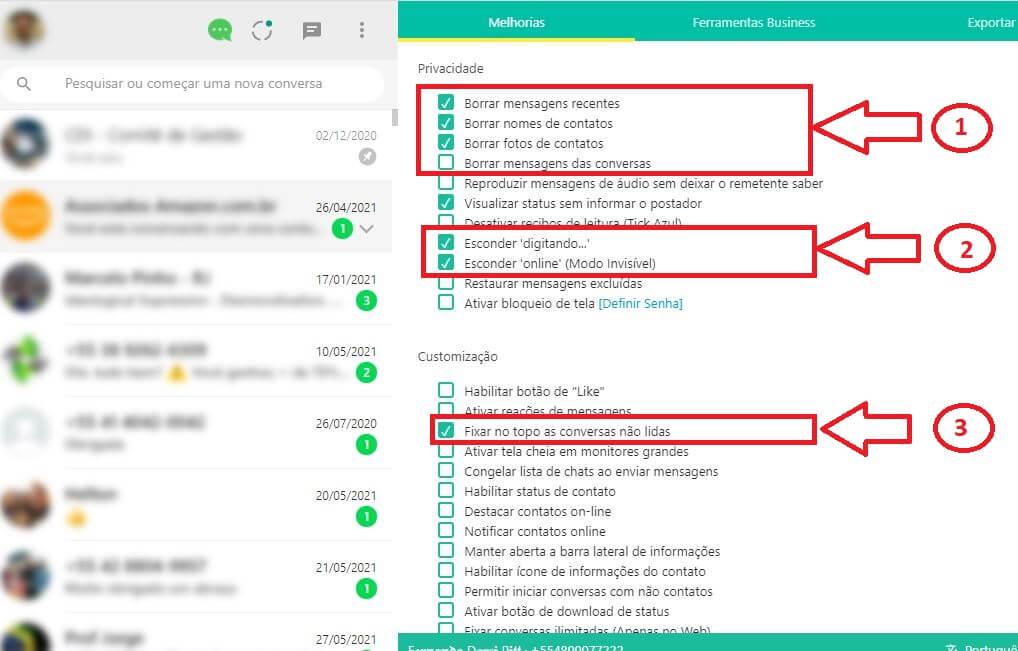 Confiugração WA Web Plus WhatsApp invisível