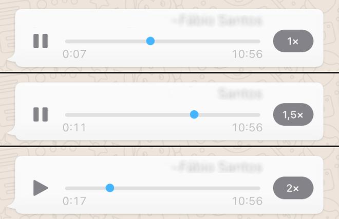 Velocidade de áudio no WhatsApp
