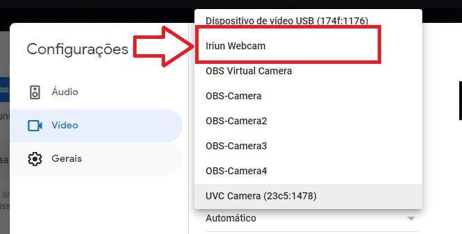 iriun como webcam no google meet
